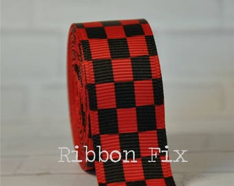 "2 + yards 3/8"", 7/8"", or 1.5"" Red & Black Checker Print Grosgrain Ribbon - US Designer - Checkered Flag Win - Racing Bows - Race Car Party"
