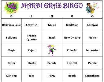 Mardi Gras Party Bingo Game (60 Cards)  Carnivale Bingo Words -Kid Friendly Version Very Fun! Print and Play!