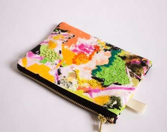 Juno C, Digitally Printed and Hand Embroidered, Silk Lining, Zipper Pouch, Zip Bag, Make up bag, Purse