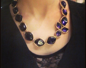 Vintage Oscar De La Renta Necklace Purple Statement