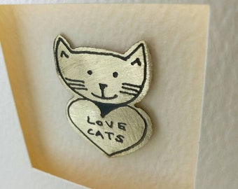Love Cats handmade greetings card with cute metal motif by Sharon McSwiney