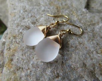 Frosty white glass teardrop earrings