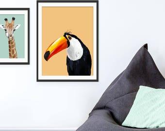 Toucan Print. Toucan Gift. Toucan Art. Toucan Painting. Toucan Decor by Green Lili. Wall Art. Gift. Interiors.