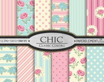 Digital shabby: Chic digital paper, Shabby digital paper, Printable shabby scrapbook paper, Cottage chic, Shabby paper, Shabby background