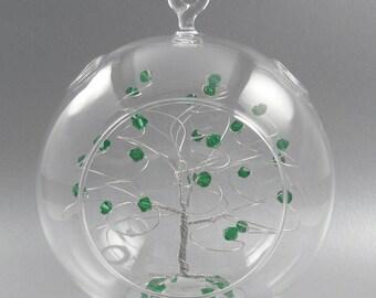 Christmas Ornament Emerald Green Swarovski Crystal Elements and Silver May Crystal Christmas Ornament
