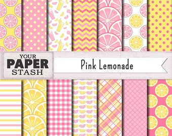 Pink Lemonade Digital Paper, Lemon Scrapbook Paper, Pink & Yellow Patterns for Scrapbooking, Birthday, Summer, Commercial Use, Planners