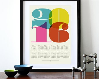 2016 calendar poster, retro kitchen art, mid century modern, office art print, Eames era, typography poster, graphic design, A3 wall decor