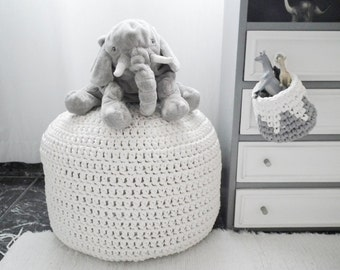 Large White Pouf, Nursery Footstool, Crochet Pouf Cover, Nursery Decor, Floor Pillow Kids, Knit Round Floor Cushion, Bean Bag Chair Seating