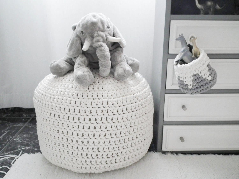 White / Off White Stuffed Pouf Ottoman Large Floor Pillow