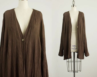 90s Vintage Chocolate Brown Slouchy Crinkle Blazer Coat  / Size Medium