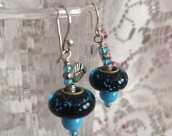 Black and Blue Merano Glass Bead Earrings