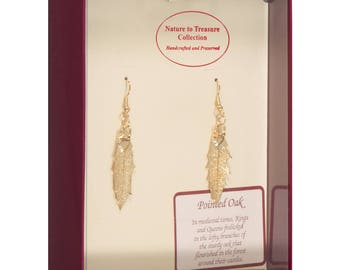 Real Pointed Oak Leaves Dipped In 24k Gold - French Hook Earrings - 24k Gold Electroplated - Boxed