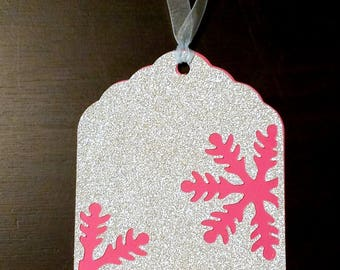 Silver Glitter  and Pink Snowflake Holiday Scaloop Gift Tags Set of 5