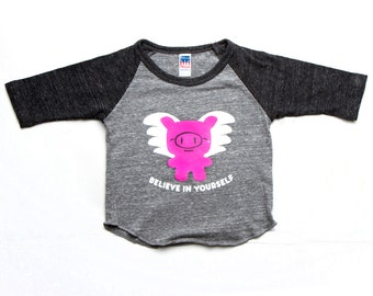 Flying Pig Black and Heather Gray Baby Toddler Kid Raglan