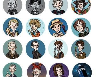 Doctor Who 1 inch Button Including New Who Classic Who Companions TARDIS