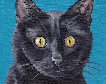 Black Cat Art Print, canvas or paper, black cat art print, cat art print, cute cat art, close up cat art, realistic cat art