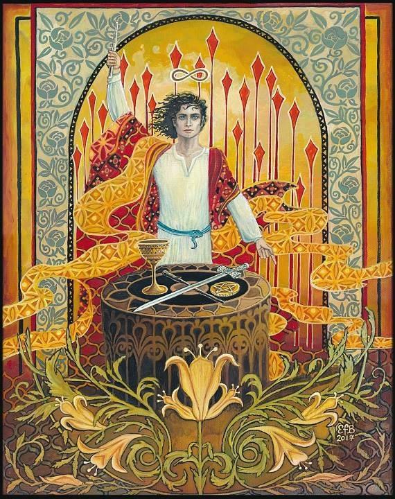 The Magician Tarot Art 11x14 Print Psychedelic Art Nouveau