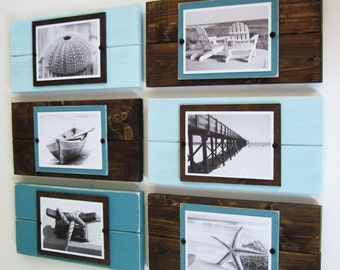 Wall Grouping Set of Six Plank Frames for 5x7 Pictures