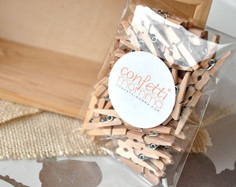 "Mini Clothespins 1"" - Handcrafted in 2-5 Business Days.  Tiny Wooden Clothespins Pack of 50."