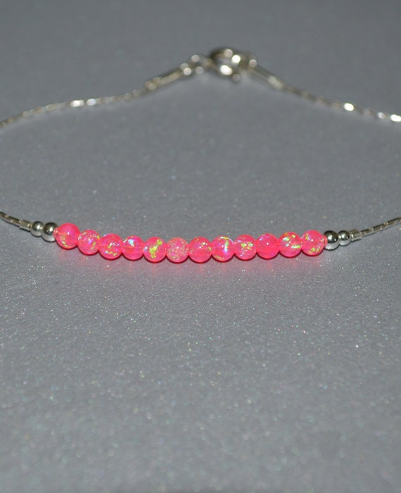 Pink Opal Bracelet, Tiny Opal Dot Bracelet, simple dainty coin/circle silver bracelet, minimalist horizontal bar bracelet, opal jewelry