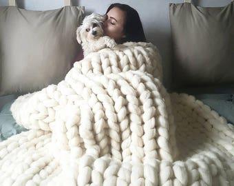 Chunky Knit Blanket 1USD SHIPPING TO US, Polish Handmade Original