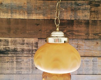 Mid century, amber glass, pendant lamp