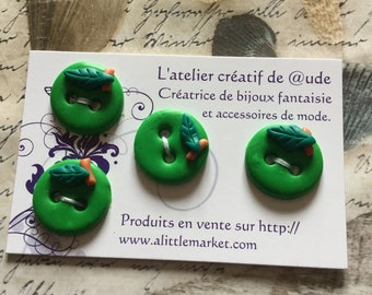 Set of 4 apples in polymer clay buttons