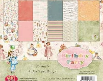 36 papers 15.2 x 15.2 cm you BIRTHDAY PARTY and Craft