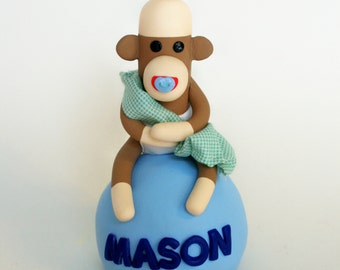 Sock Monkey Baby Shower  Cake Topper Boy w NAME Blanket and Pacifier