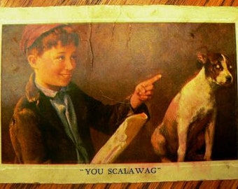 vintage postcards ... YOU SCALAWAG  .. POSTCARD . ..