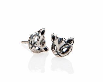 Dainty Silver Cat Earrings , Cat Lover Gift , Cat Stud Earrings , Stocking Stuffer , Kitty Earrings , 925 Sterling Silver Owl Jewelry