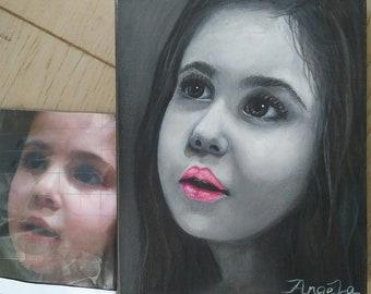 Black + white, oil painting on canvas, besboke , portrait, kids