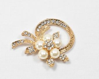 Gold pearl Brooch Rhinestone gold Brooch pearl Brooch Wedding Jewelry Gold Bridal Brooch Wedding Gold Brooch