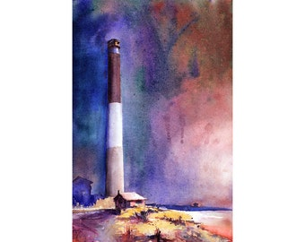 Painting of Oak Island lighthouse in North Carolina.  North Carolina lighthouse.  Lighthouse watercolor painting.  Lighthouse fine art print