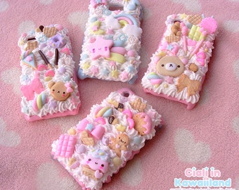 Kawaii decoden phone case, whipped cream effect case, cute iphone galaxy phone case, phone shell, available for iphone, samsung, sony etc.