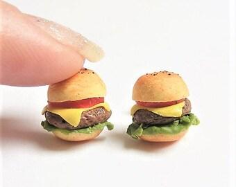 Food Jewelry Cheeseburger Earrings, Miniature Food Jewellery, Cheese burger Earrings, Mini Food, Food Earrings, Fast Food, Burger jewelry