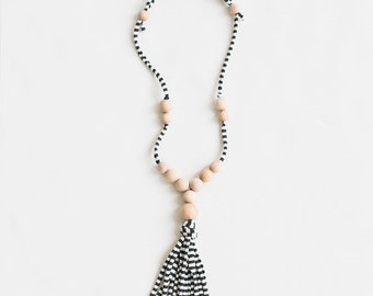 Wood Bead Tassel Necklace, custom colors, jersey yarn, adjustable, black and white stripes, summer