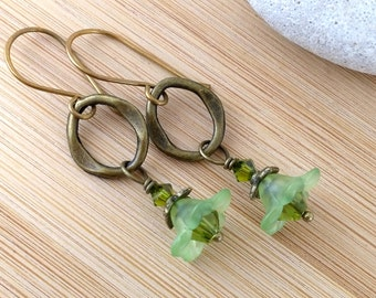 Lime Green Flower Earrings. Antique Brass Oval. Victorian Earrings. Lucite Flower Jewelry