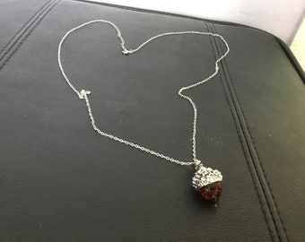 Acorn necklace on silver plated chain