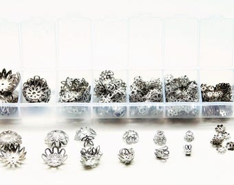 Box of 300 cups, silver flower caps 7 models from 6 to 16 mm