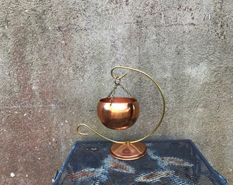 Vintage Copper Hanging Planter Small