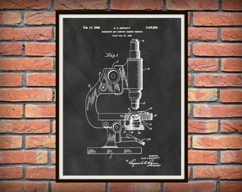 Patent 1948 Microscope And Counting Chamber Art Print - Poster - Hospital Wall Art - Doctors Office Art - Medical -Research