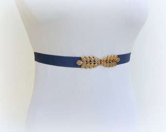 Navy blue elastic waist belt. Gold leaf belt. Navy Blue Stretch Belt. Elegant evening dress belt. Grecian belt.