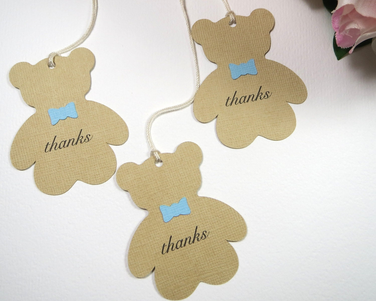 Teddy bear baby shower favor tags Boy baby shower thank you