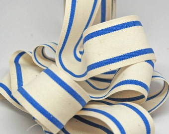 Cotton Stripe Ribbon 1.5 inch -- Natural Nautical Blue -- Off White Blue Cream