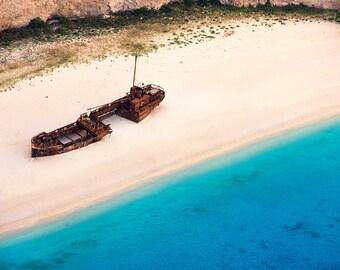 Shipwrecked, Greece Photography, Navagio, Zakynthos, Tropical, Mediterranean Sea, Islands, Beaches- Travel Photography, Print, Wall Art