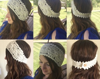 Crochet Scallop and Lace Headband