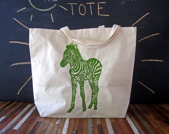 Canvas Tote Bag - Screen Printed Recycled Cotton Grocery Bag - Large Canvas Shopper Tote - Reusable and Washable - Eco Friendly - Zebra