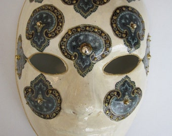 Paper Mache Mask with Paisley Designs in Turquiose and Gold / Venetian Style