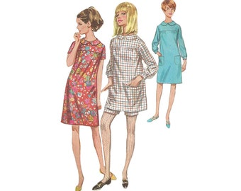 Mod 1960s Mini Dress in 2 Lengths and Shorts Simplicity 7163 Empire Waist Gathered Yoke Bracelet Sleeve Bust 31.5 Vintage Sewing Pattern